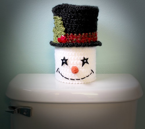 Snowman Toilet Paper Cover Crochet Christmas Holiday